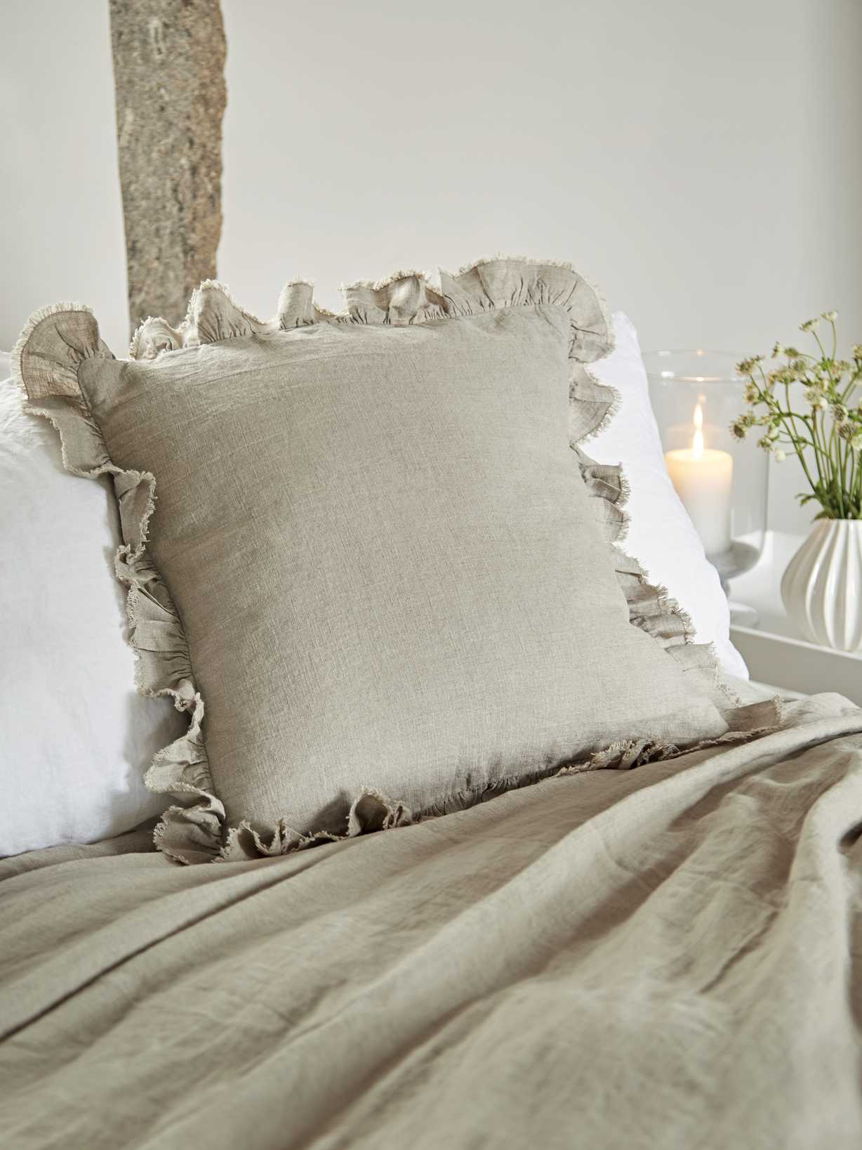 Nordic House Linen Ruffle Edge Cushion - Natural
