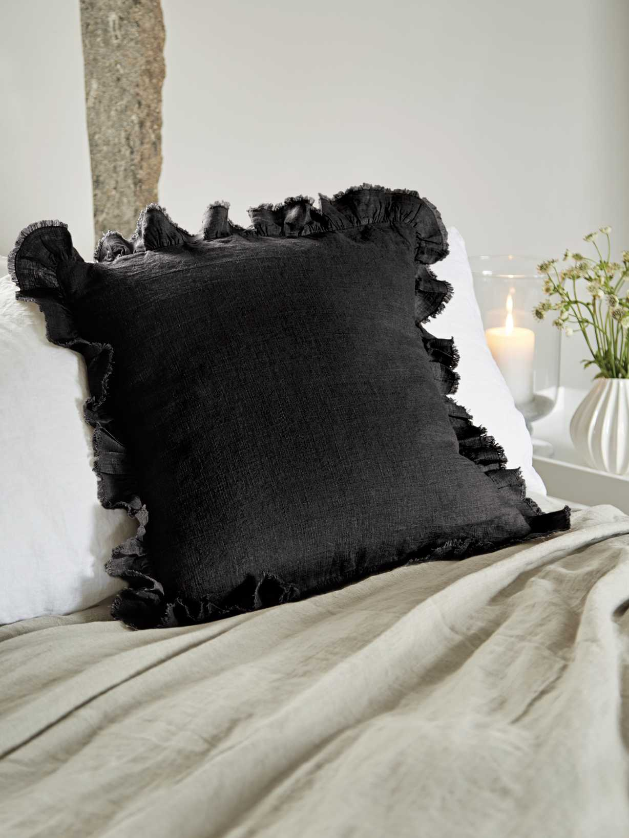 Nordic House Linen Ruffle Edge Cushion - Black