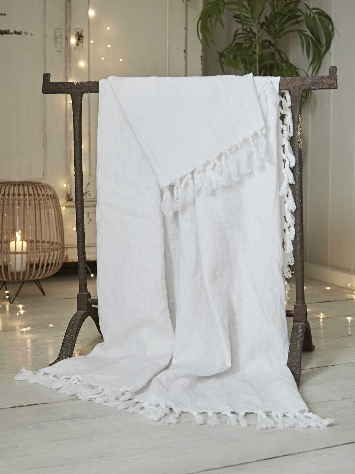 Nordic House Fringed Linen Throw - White
