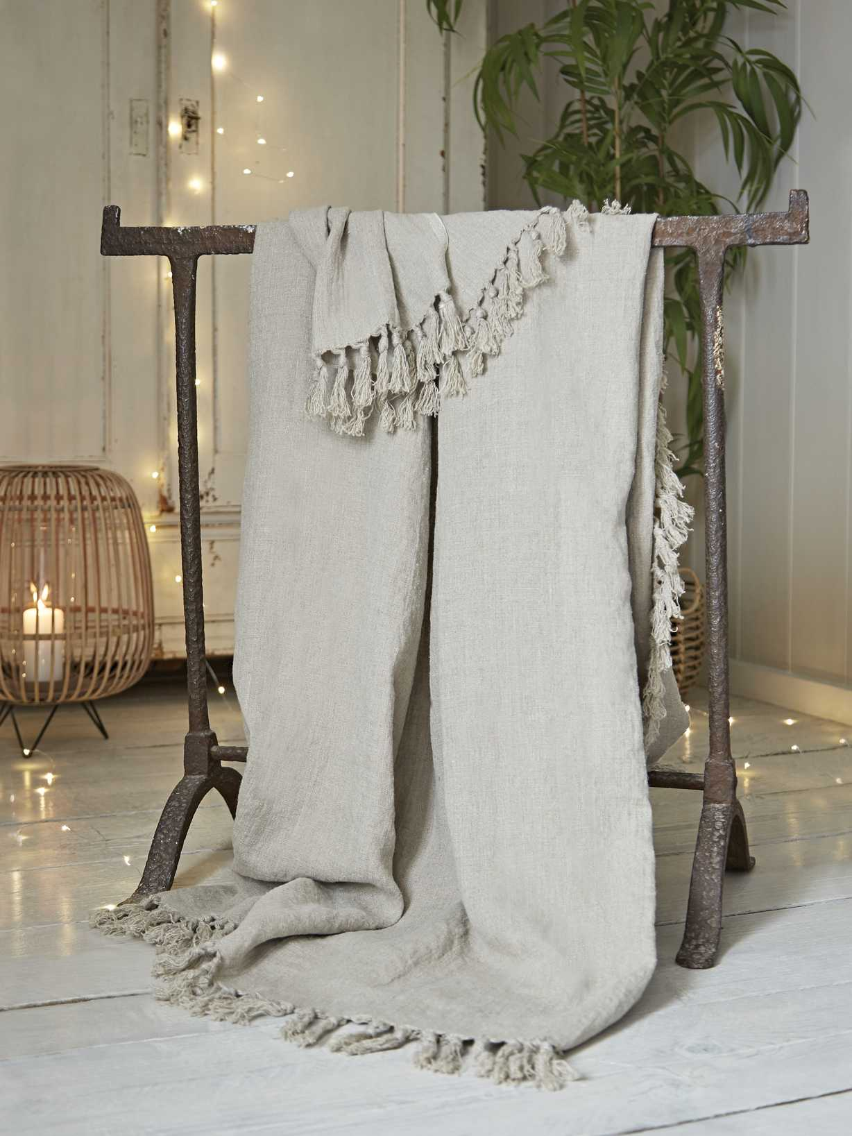 Nordic House Fringed Linen Throw - Natural