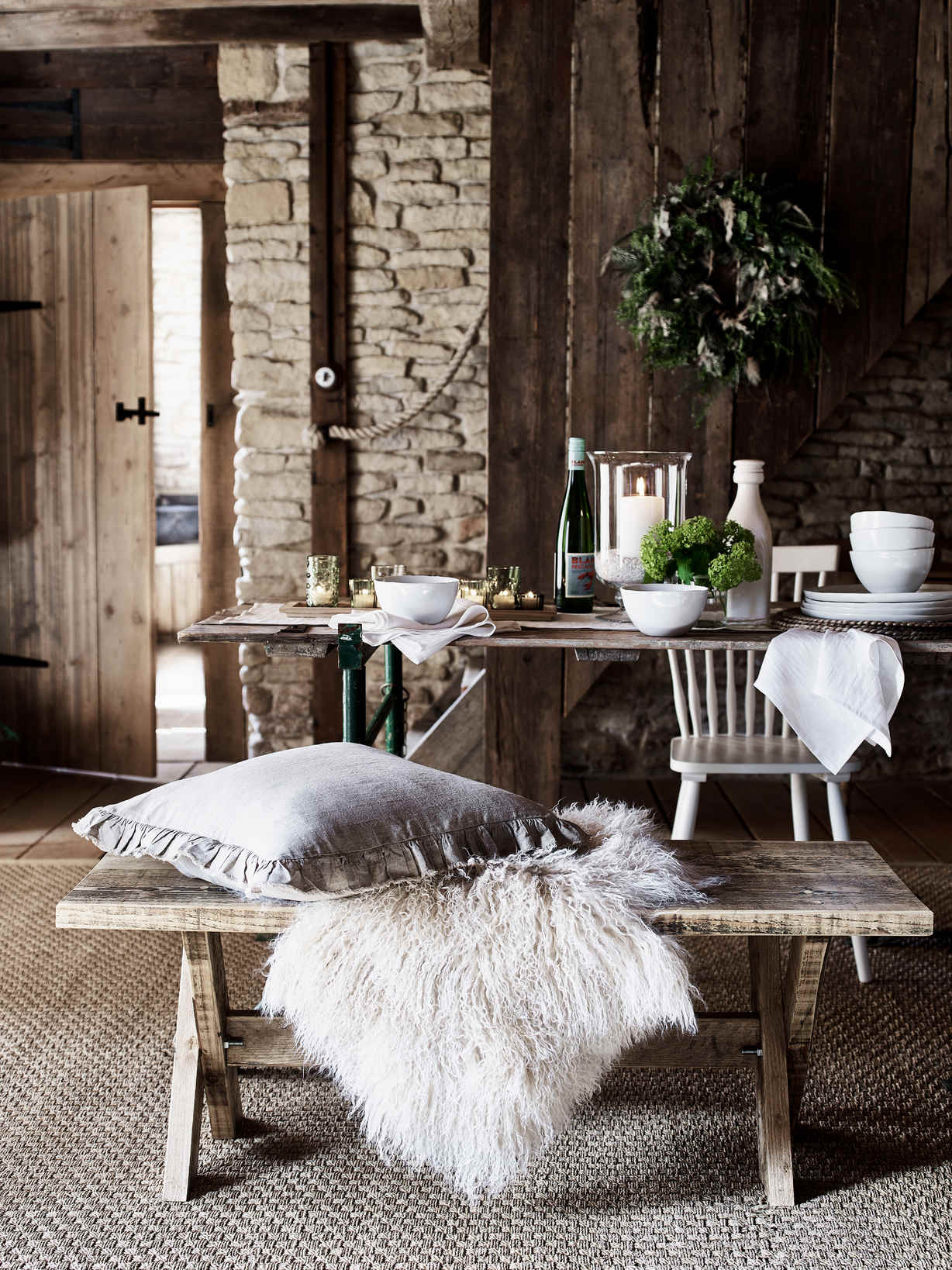 Nordic House Reclaimed Wood X Bench