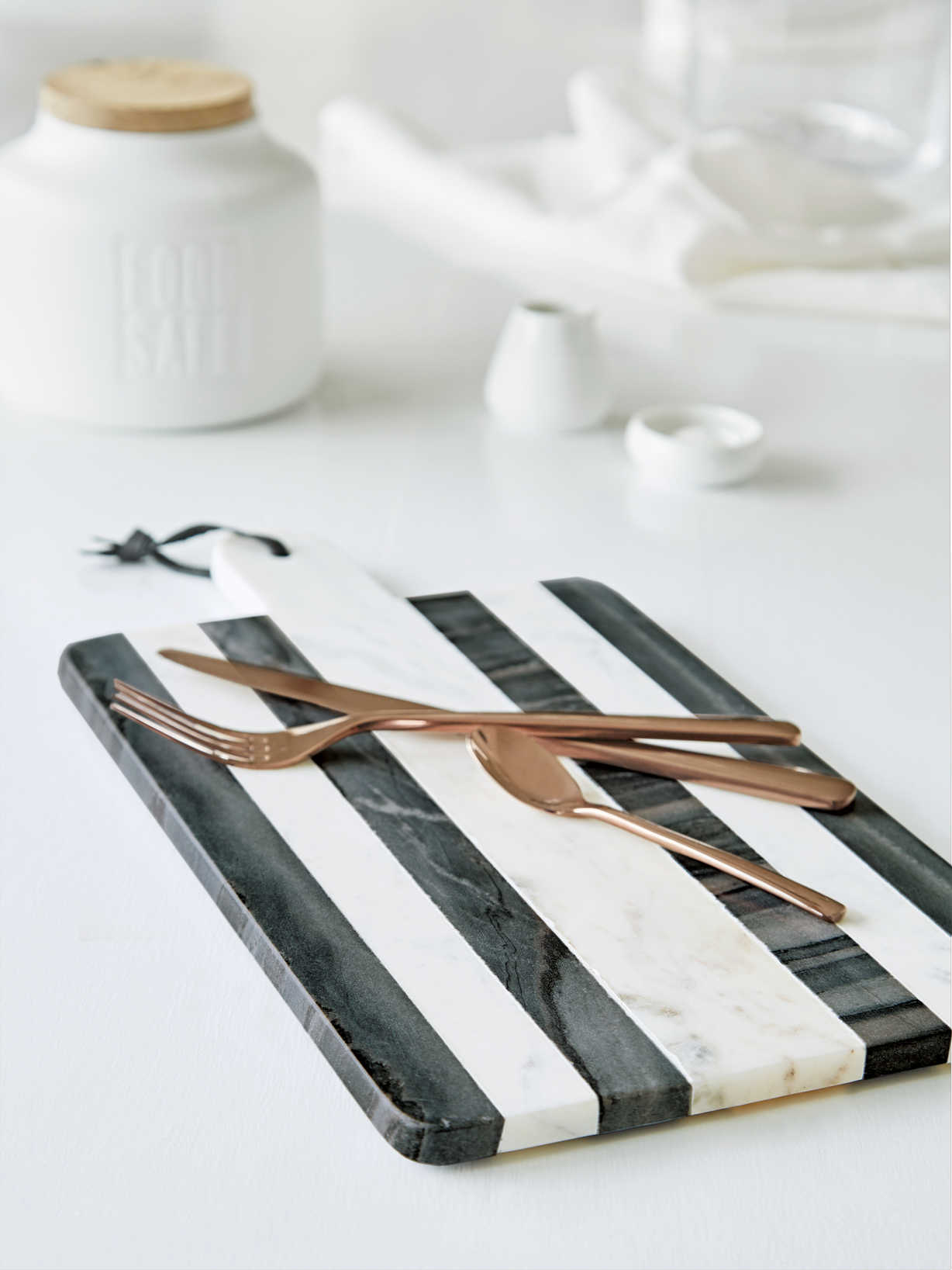 Nordic House Striped Marble Serving Board