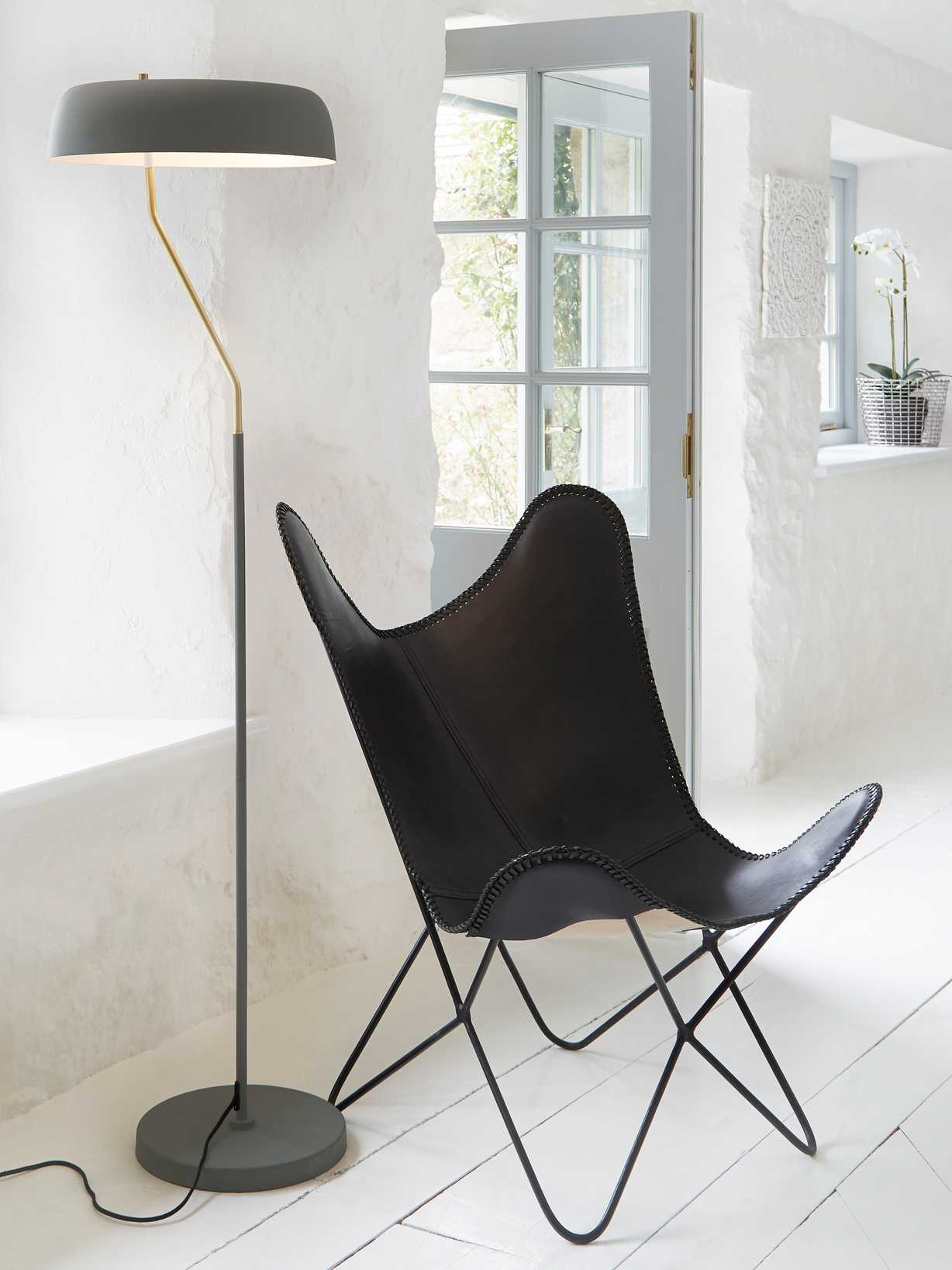 Nordic House Luxe Leather Butterfly Chair - Black