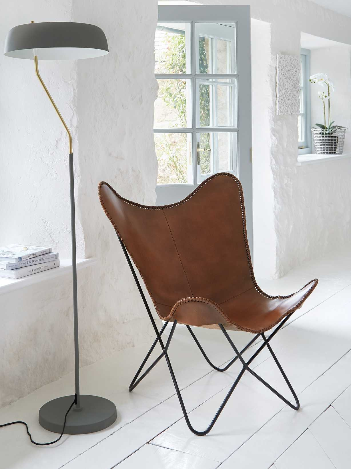 Nordic House Luxe Leather Butterfly Chair - Brown