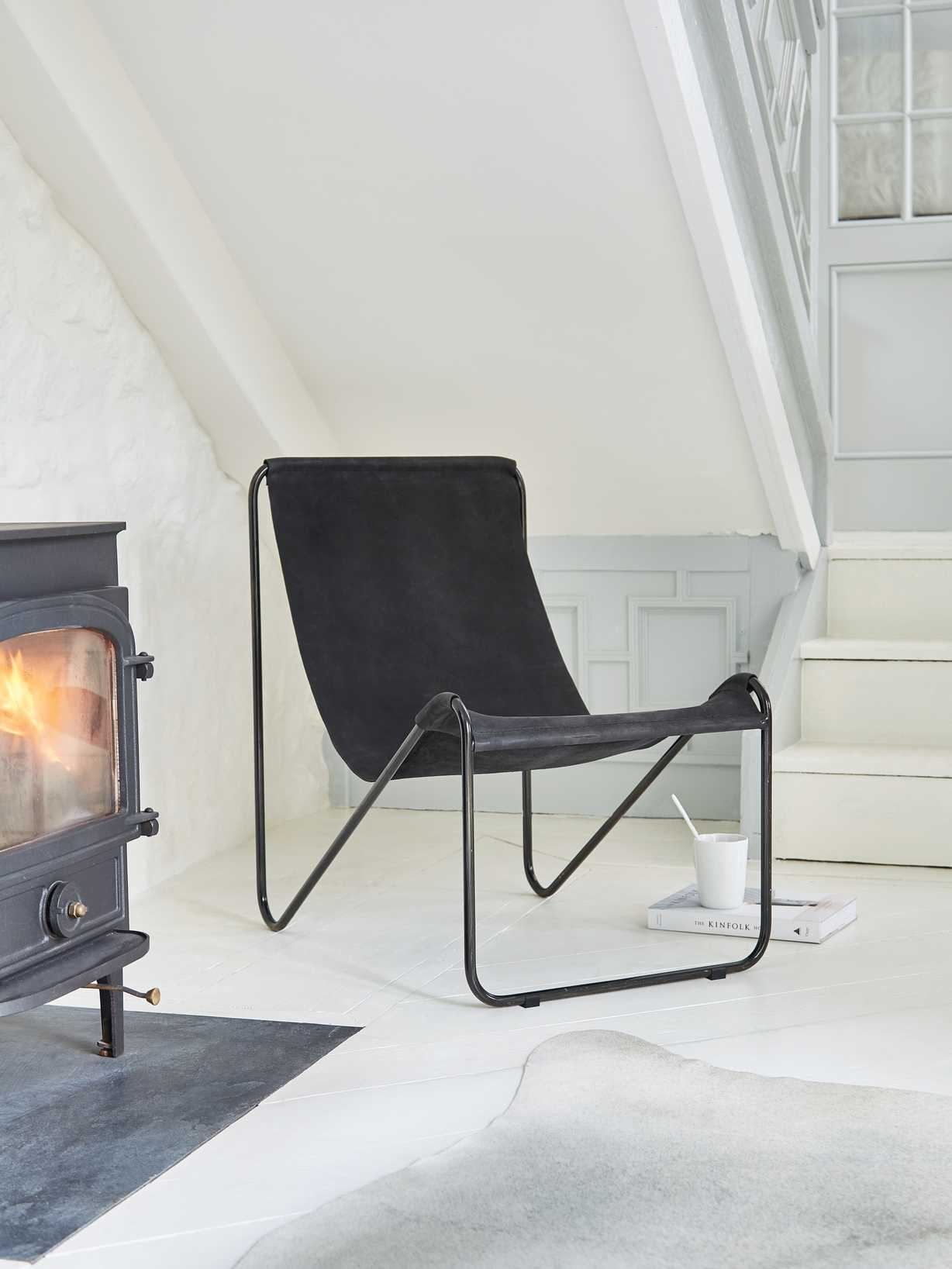 Nordic House Odin Leather Chair - Black