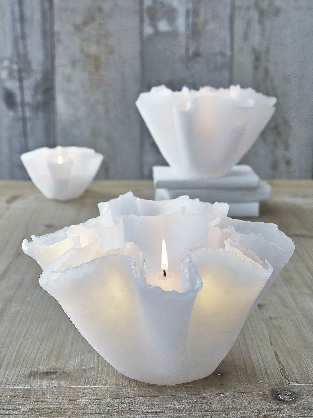 Floating Layered Candle Large Decorative White Candles