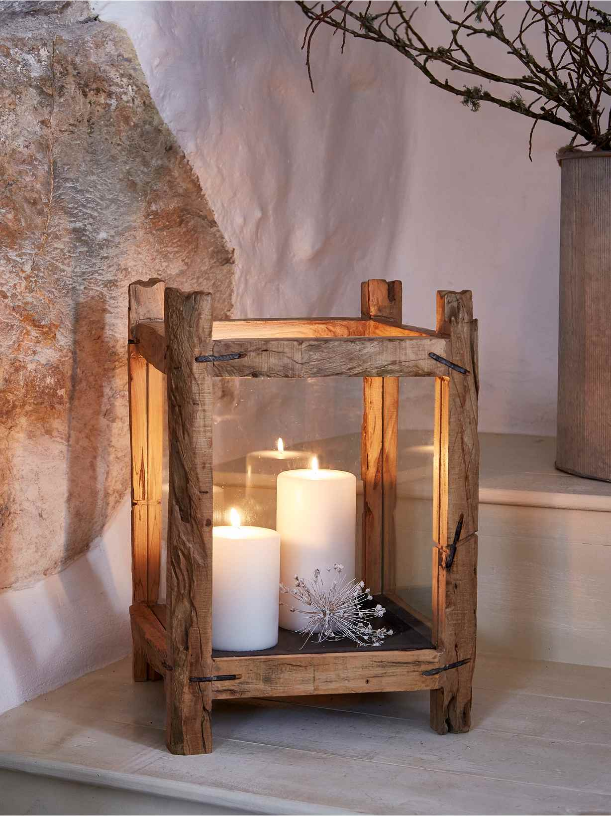 Nordic House Reclaimed Wood Candle Lantern - L