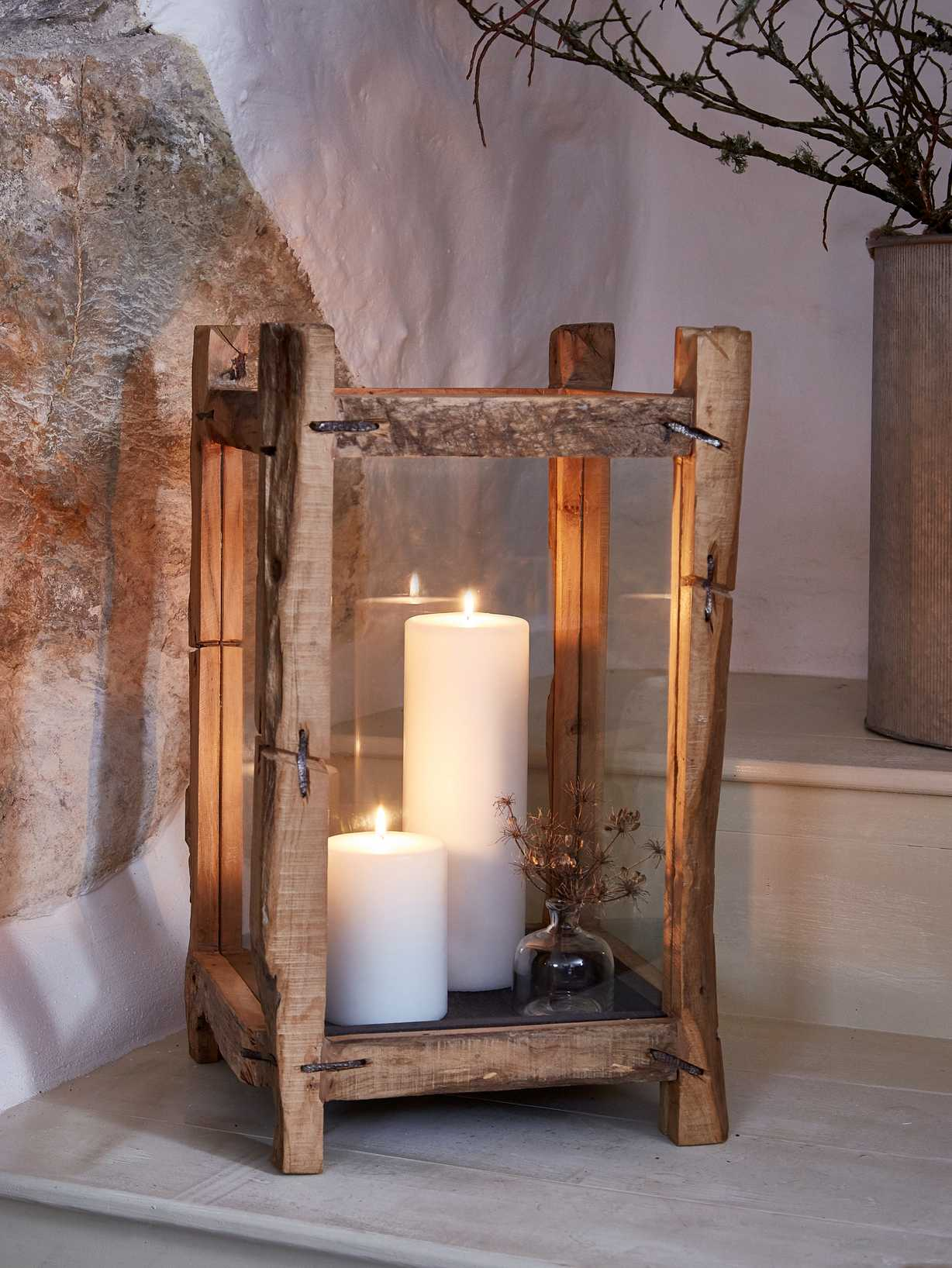 Nordic House Reclaimed Wood Candle Lantern - XL