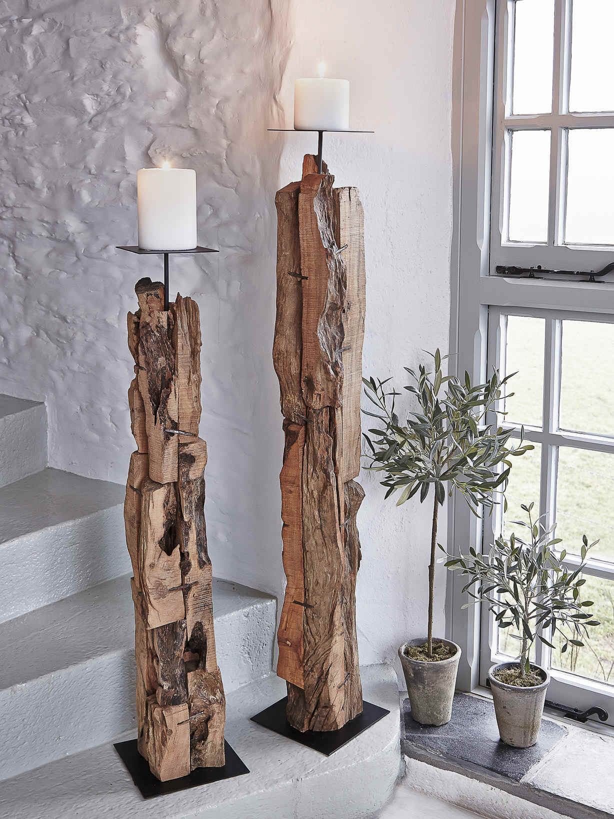 Nordic House Driftwood Floor Candle Holders