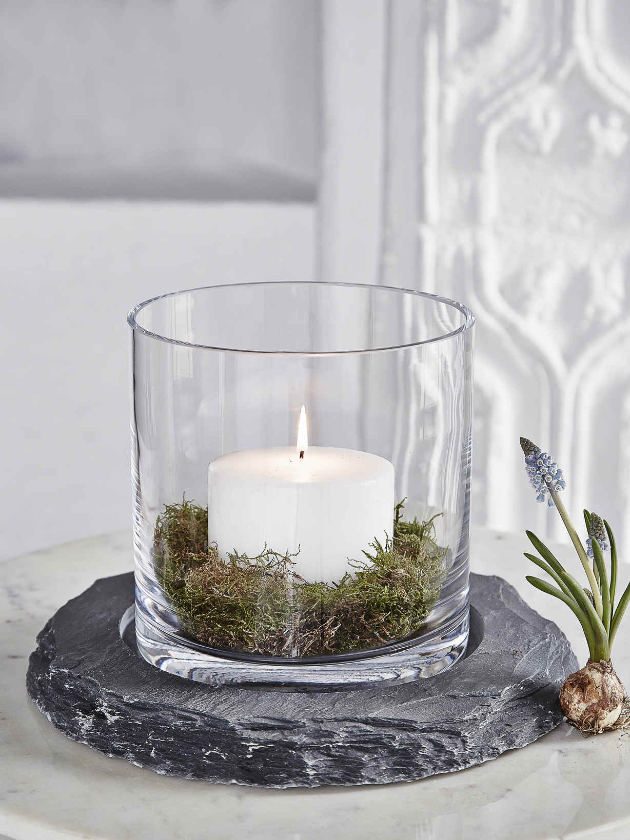 Nordic House Hand-Cut Slate Hurricane Lamp
