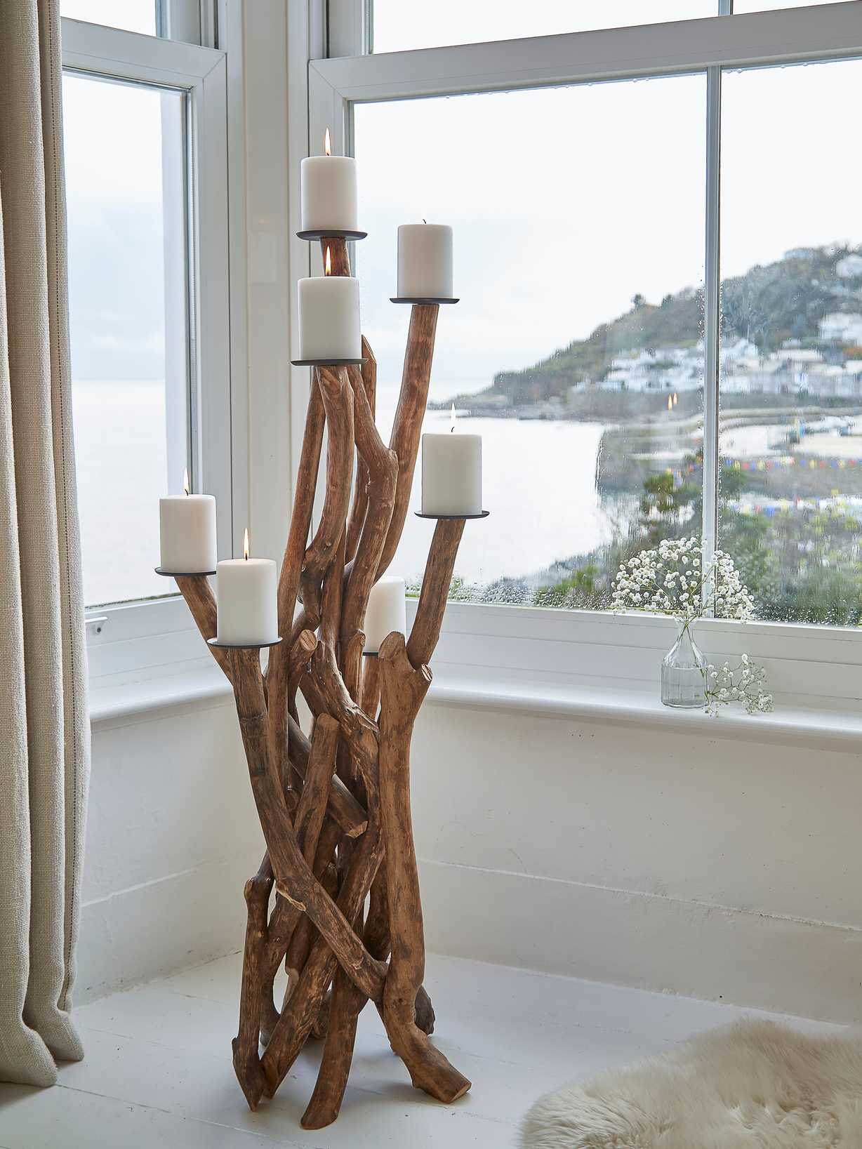 Nordic House Large Reclaimed Wood Candelabra