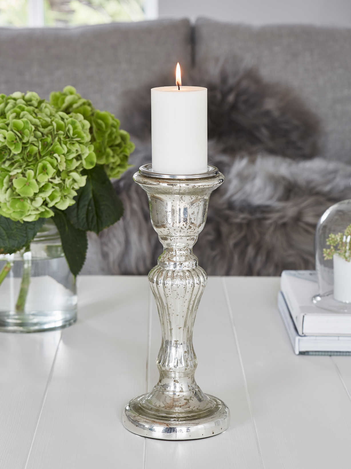 Nordic House Mercury Silver Pillar Candle Holder - L