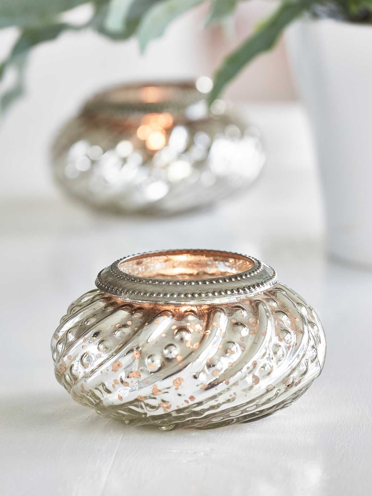 Nordic House Vintage Silver Tealight Holder