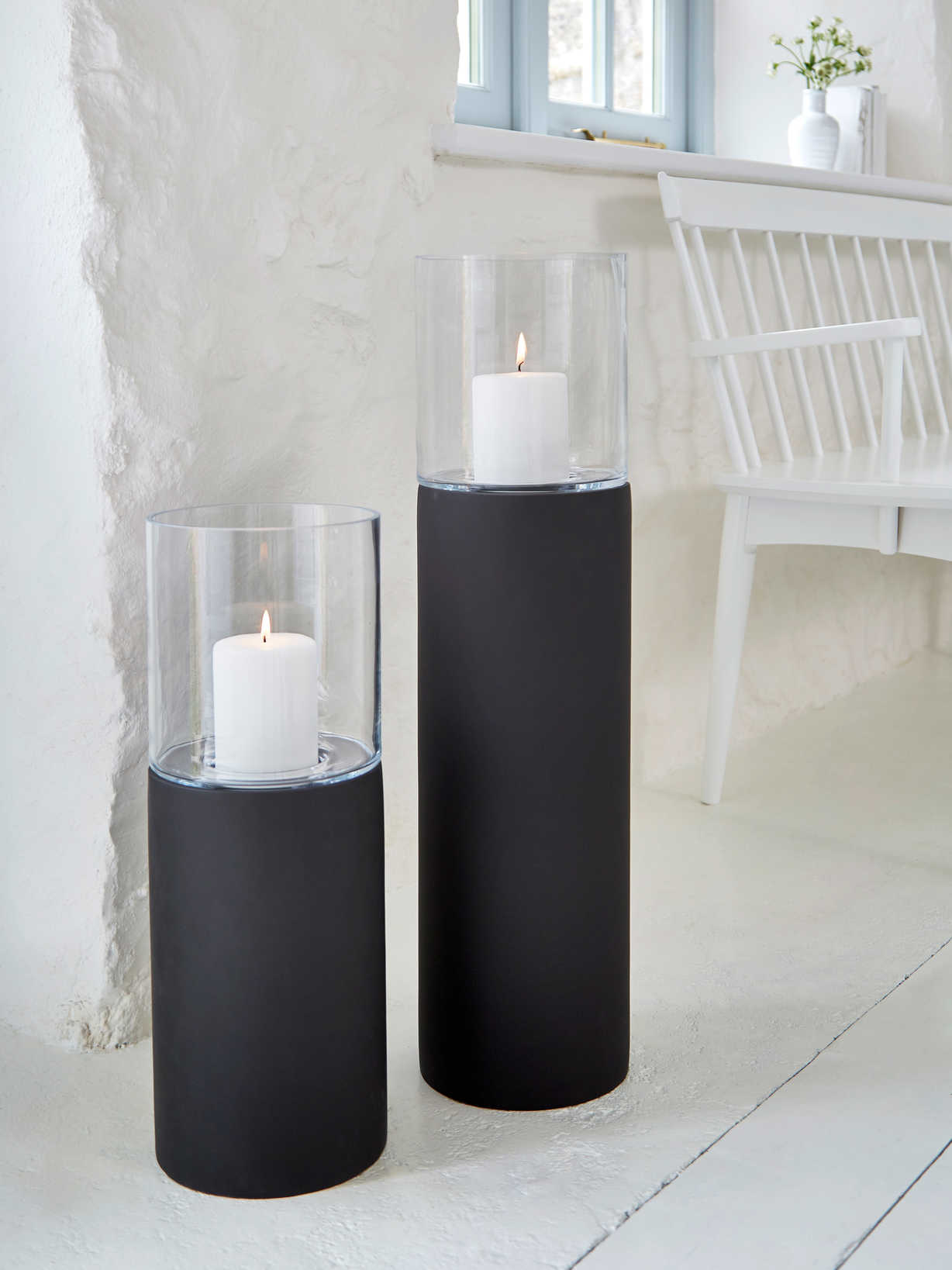 Nordic House Black Floor Standing Hurricane Lamps