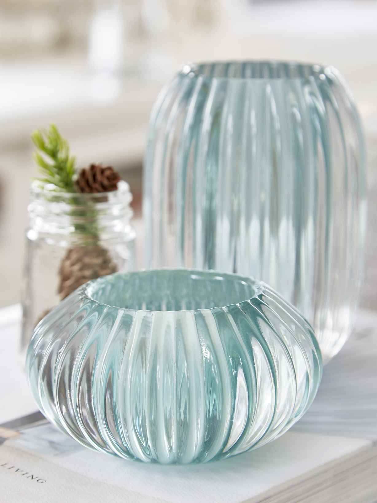 Nordic House Rilled Glass Tealights - Sea Green