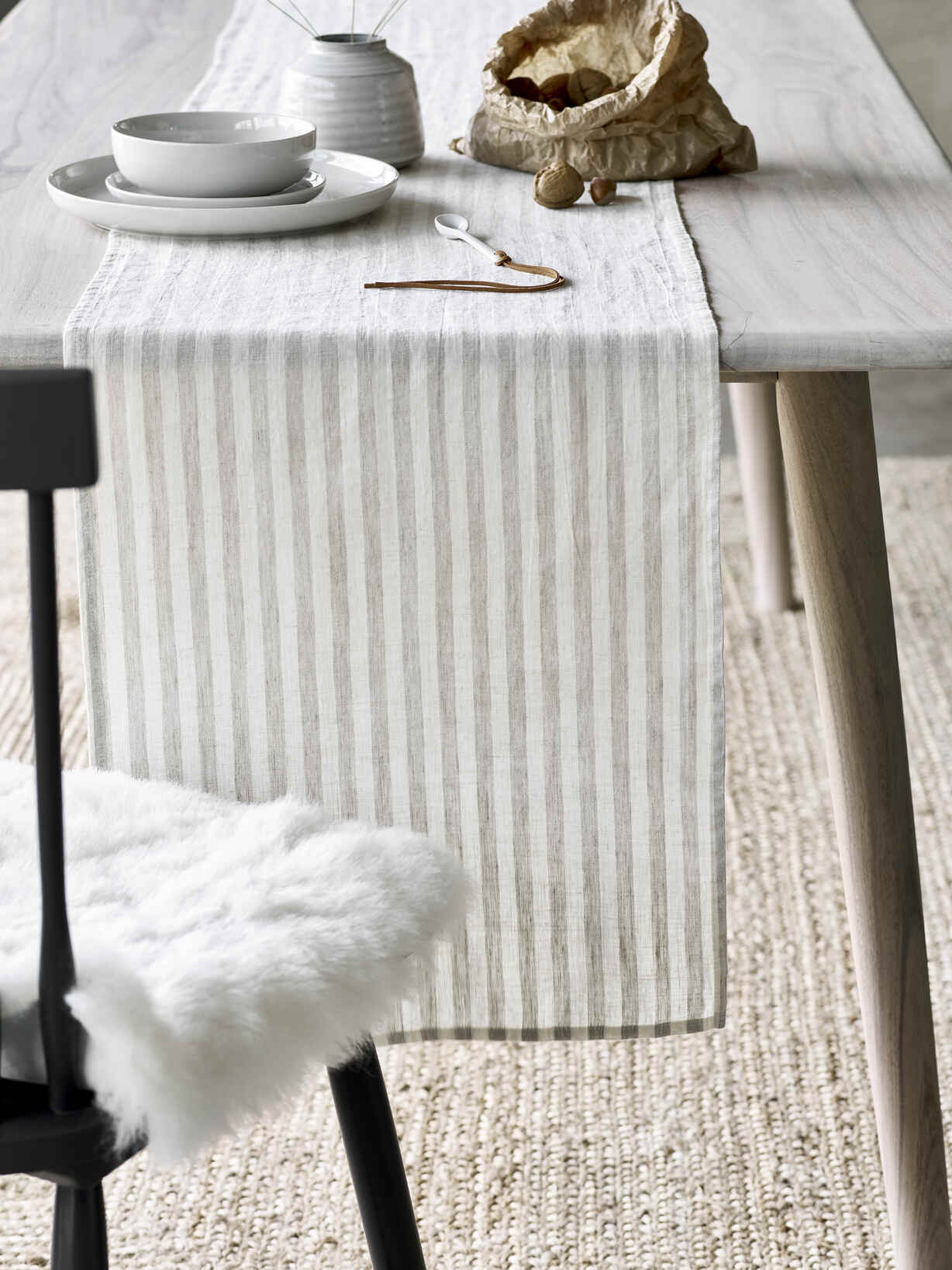 Nordic House Natural Stripe Table Runner