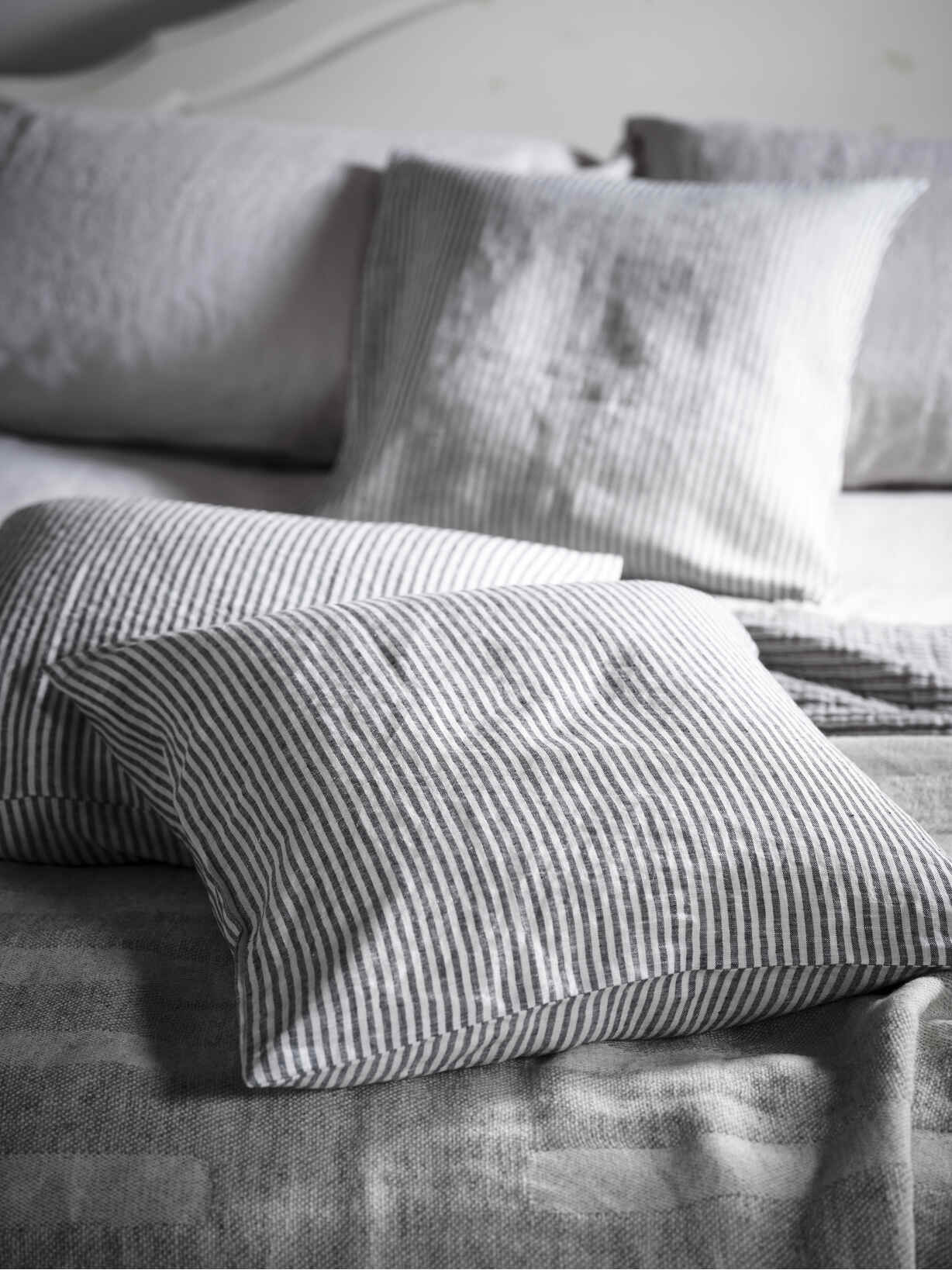 Nordic House Black Stripe Linen Cushion