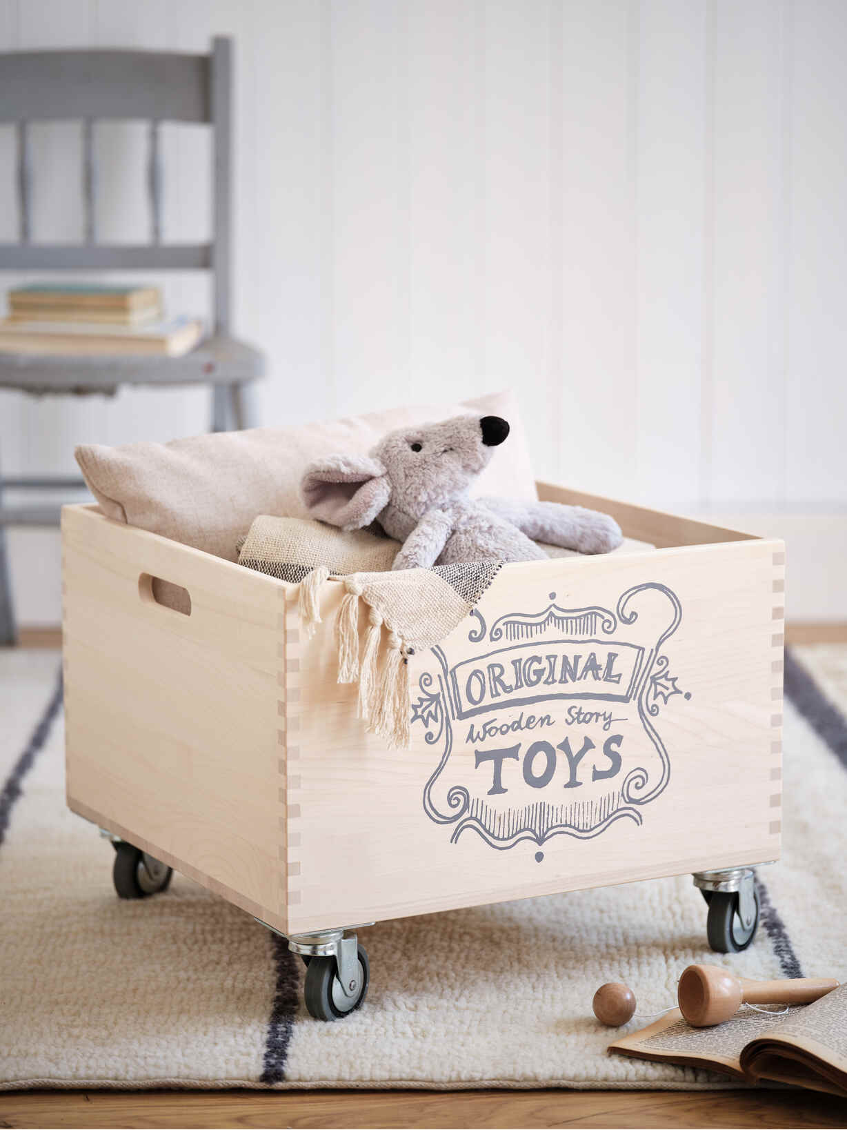 Nordic House Hand-Crafted Wooden Storage Crate