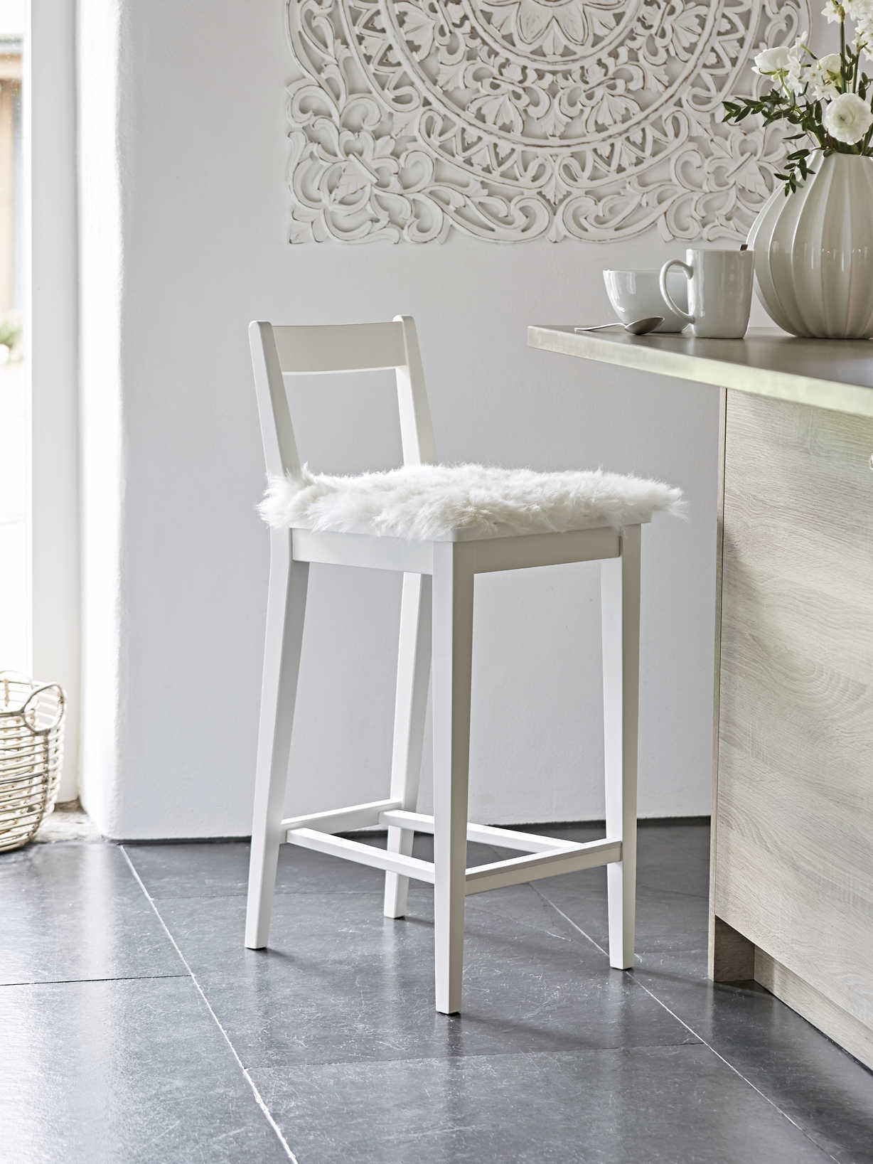 Nordic House Dahlberg Bar Stool - White