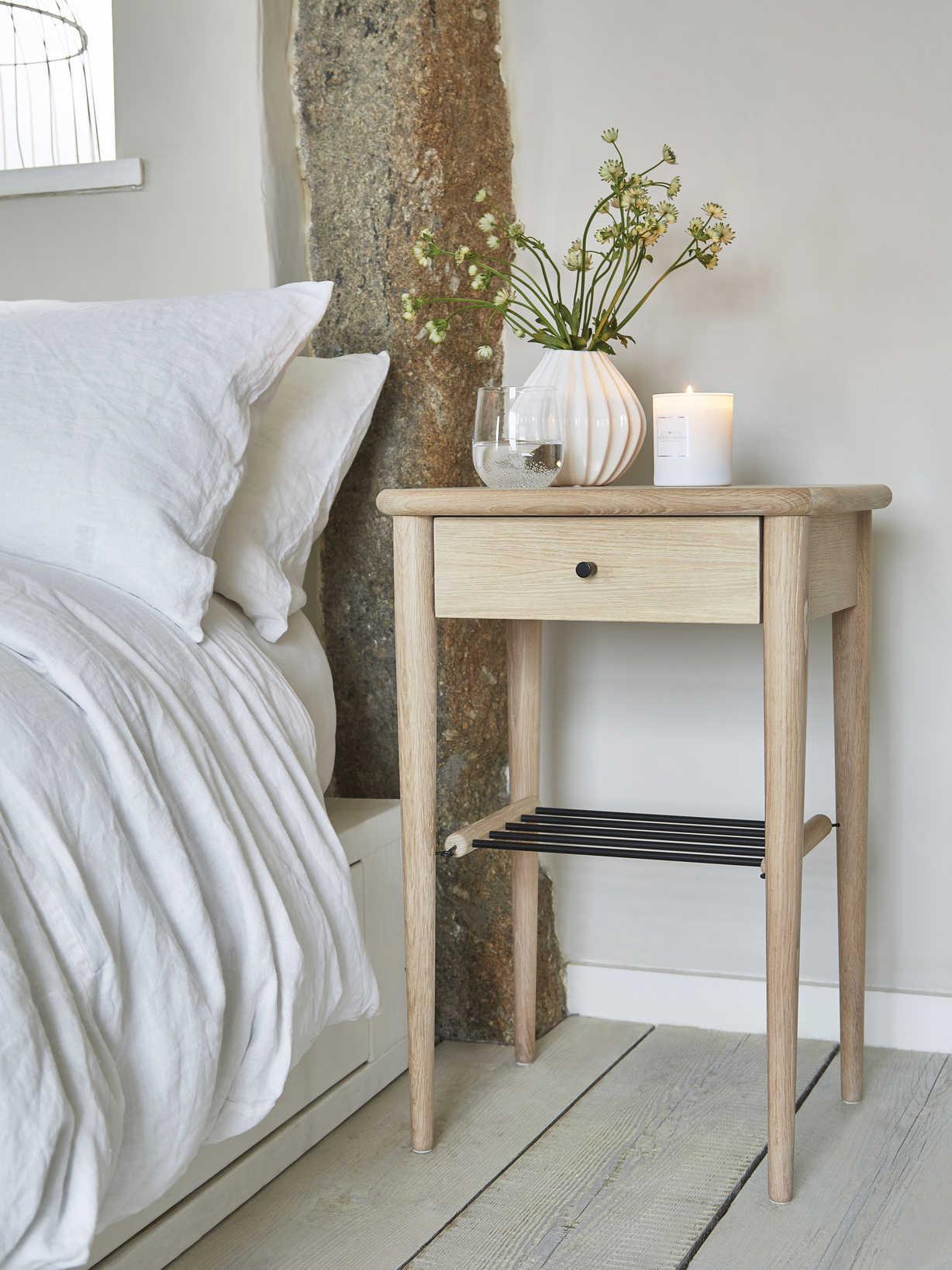 Nordic House White Oiled Oak Side Table