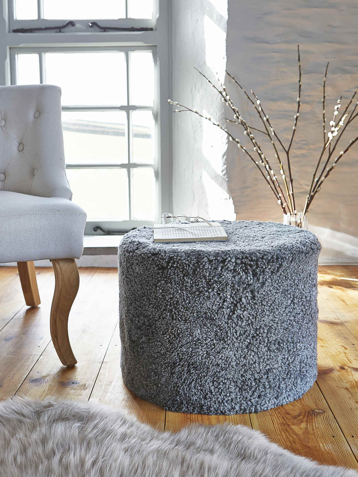 Nordic House Curly Sheepskin Pouf - Grey
