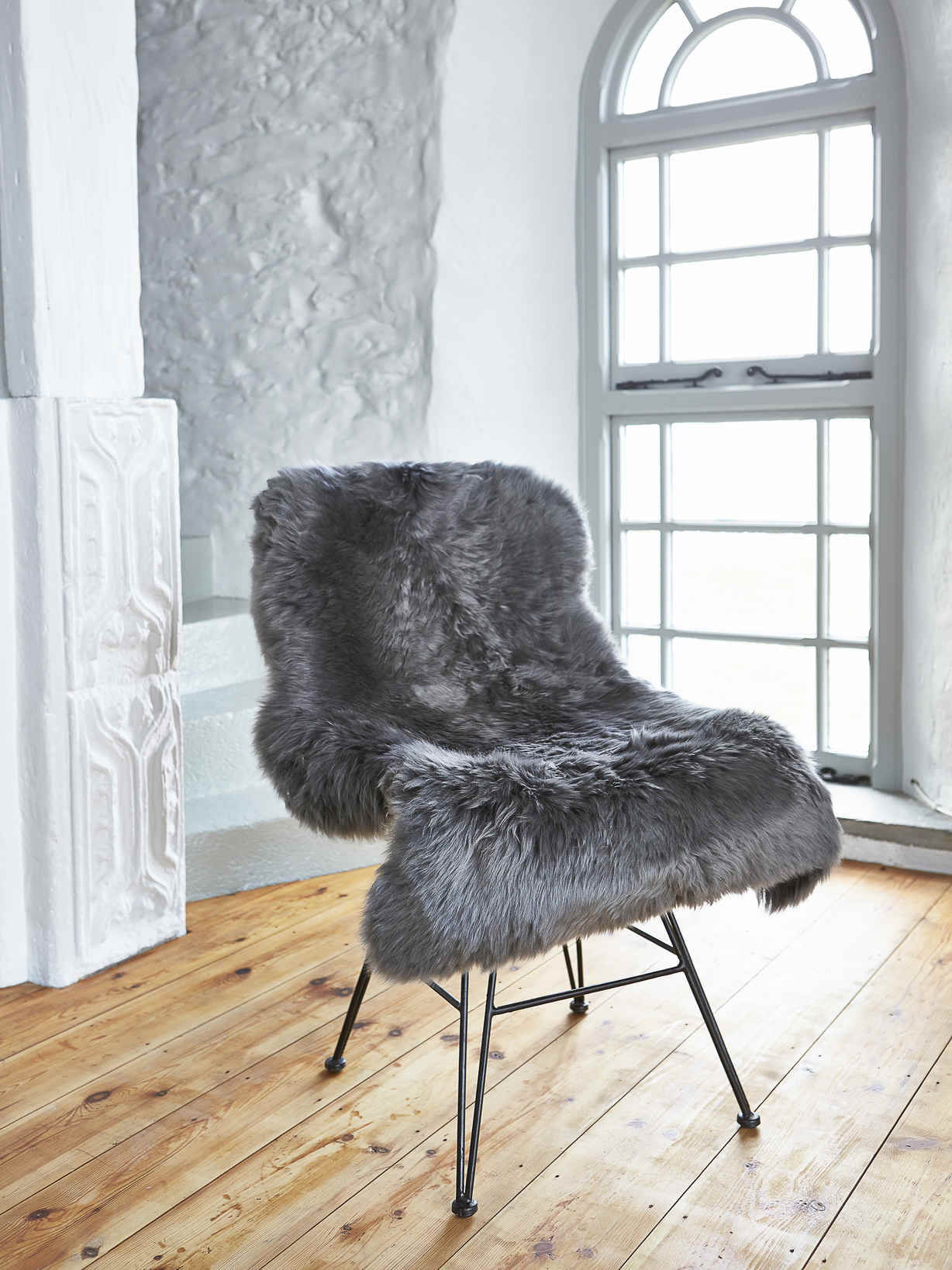 Nordic House Luxurious Sheepskin Rug - Grey