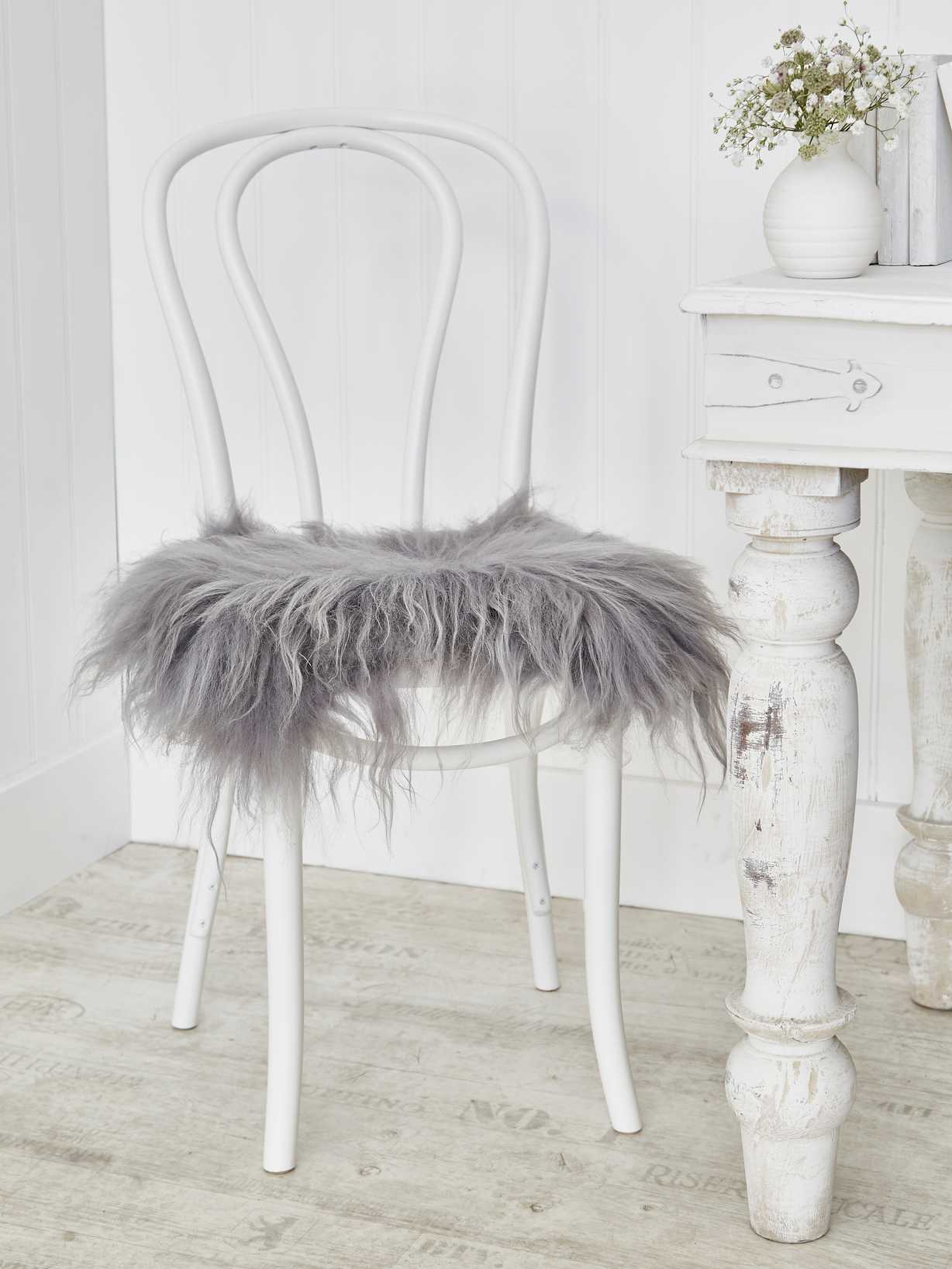 Nordic House Icelandic Sheepskin Seat Cover - Soft Grey