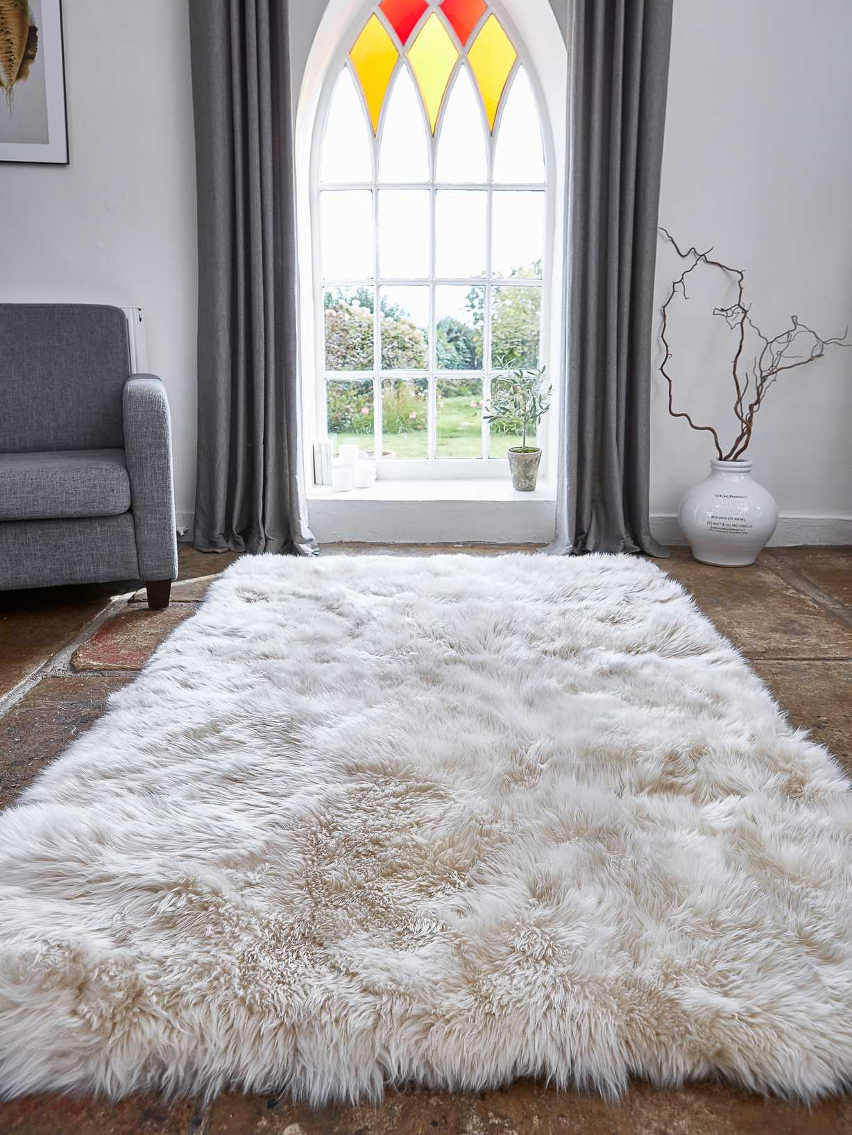 Nordic House Large Luxurious Sheepskin Rug - Champagne