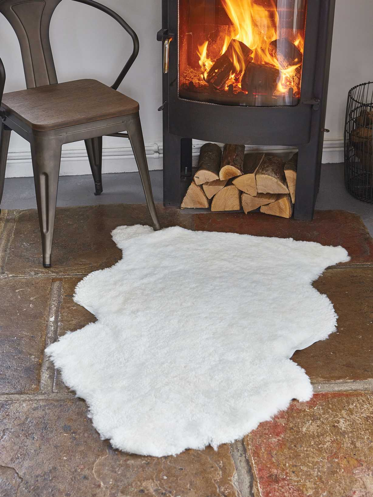 Nordic House Luxurious Curly Sheepskin Rug - Ivory