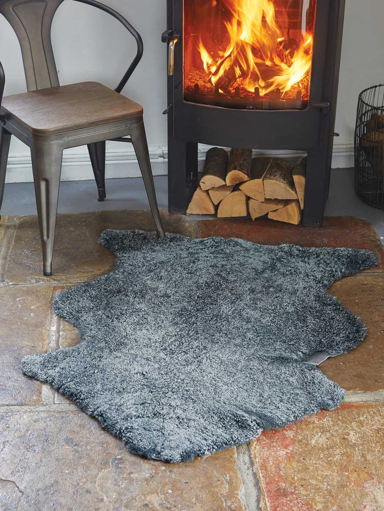 Nordic House Luxurious Curly Sheepskin Rug - Graphite