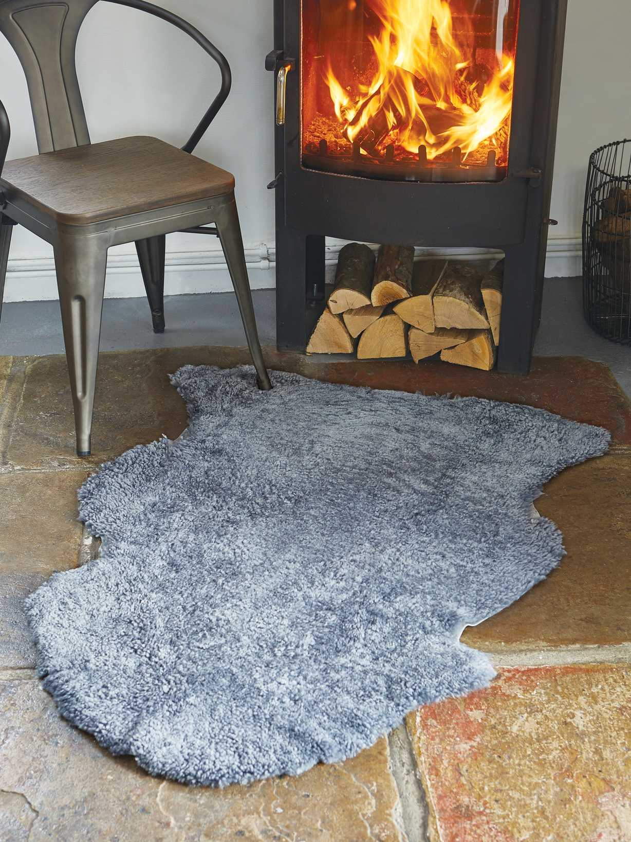 Nordic House Luxurious Curly Sheepskin Rug - Light Grey