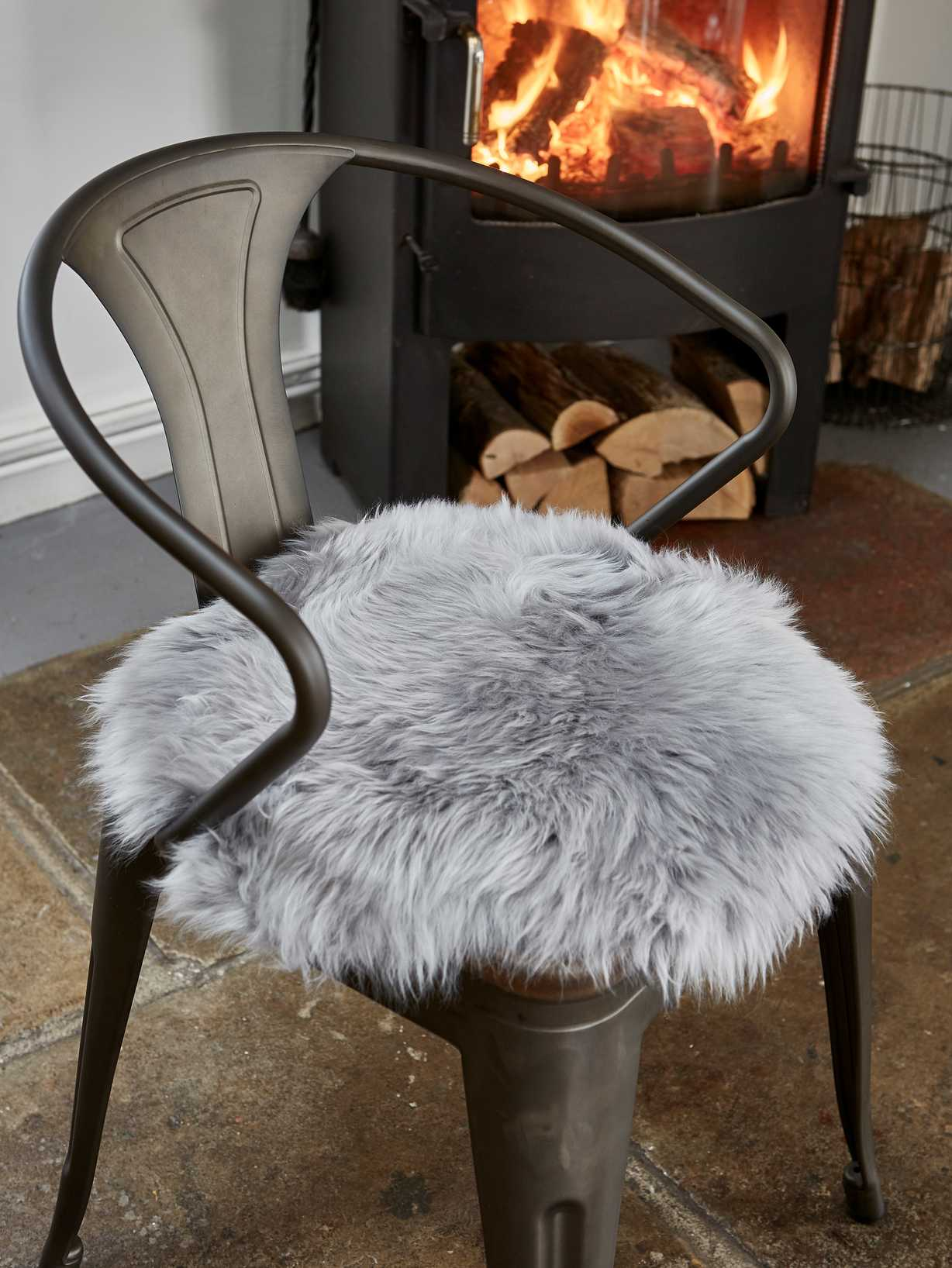 Nordic House Luxurious Sheepskin Seat Cover - Light Grey
