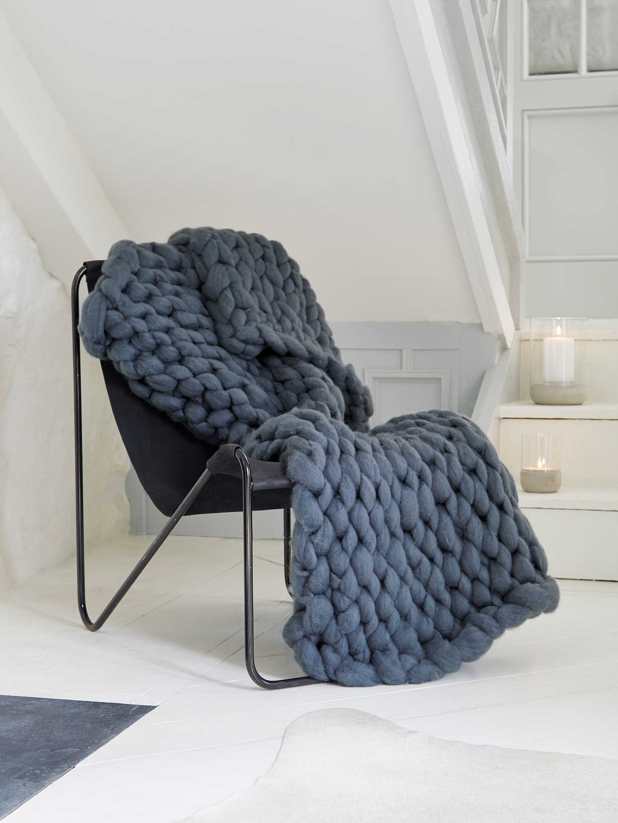 Nordic House Super Chunky Knit Blanket - Graphite