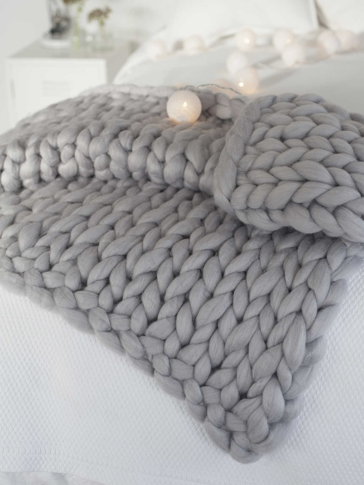 Nordic House Super Chunky Knit Blanket - Light Grey