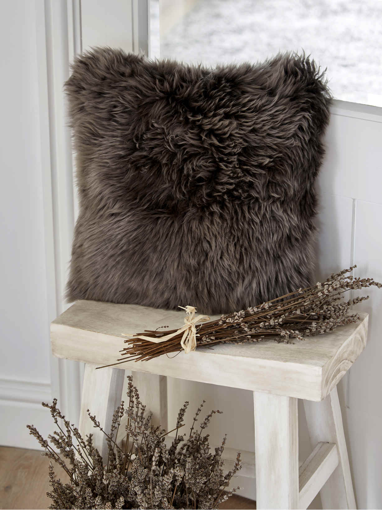 Nordic House Luxurious Sheepskin Cushion - Walnut