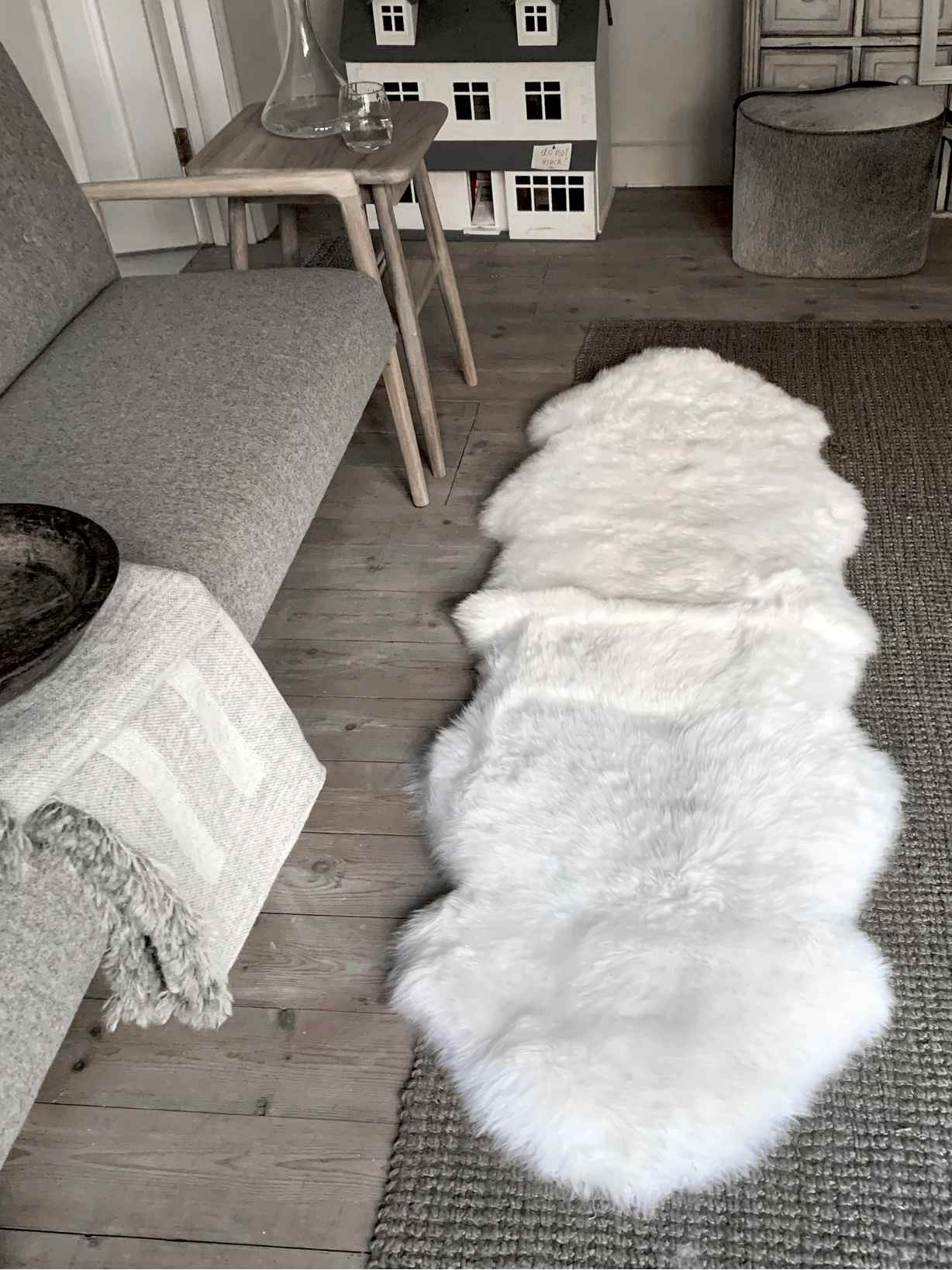 Nordic House Ivory Double Sheepskin Rug