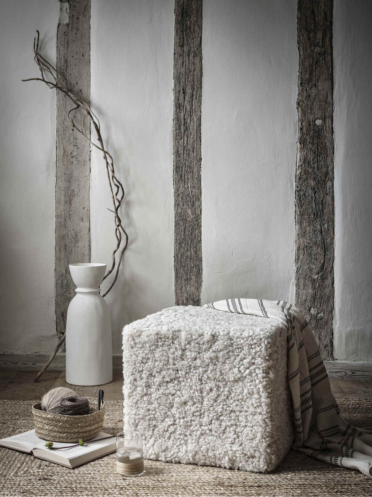 Nordic House Supersoft Sheepskin Pouf - Pearl