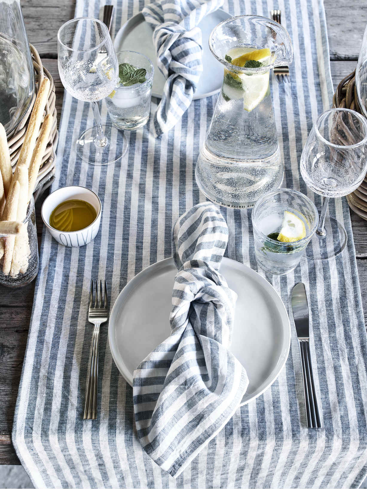 Nordic House Striped Blue Table Linen