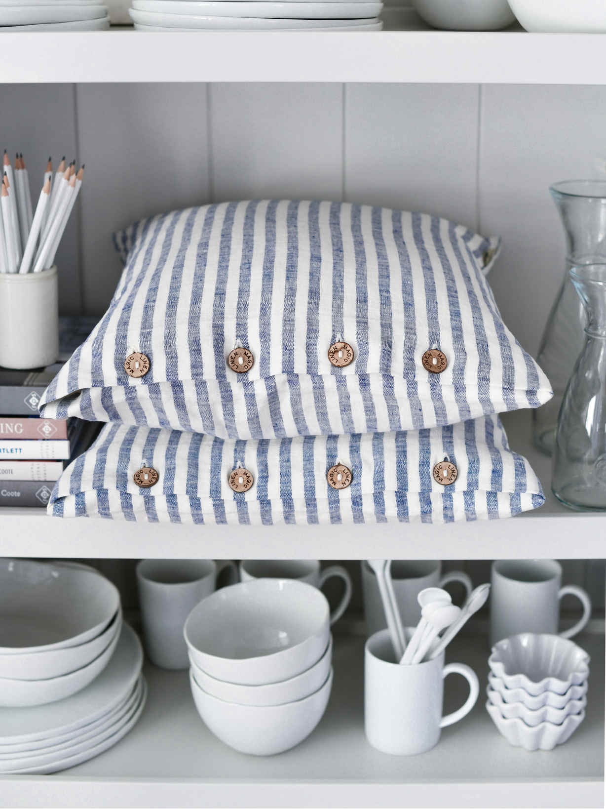 Nordic House Blue Stripe Linen Cushion