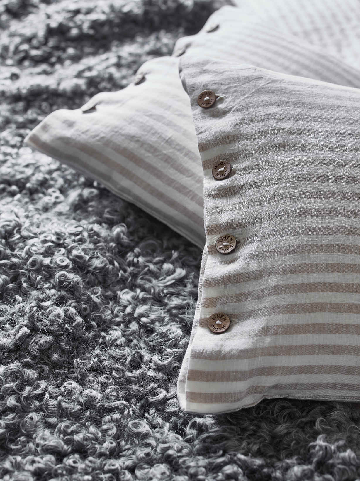 Nordic House Natural Stripe Linen Cushion
