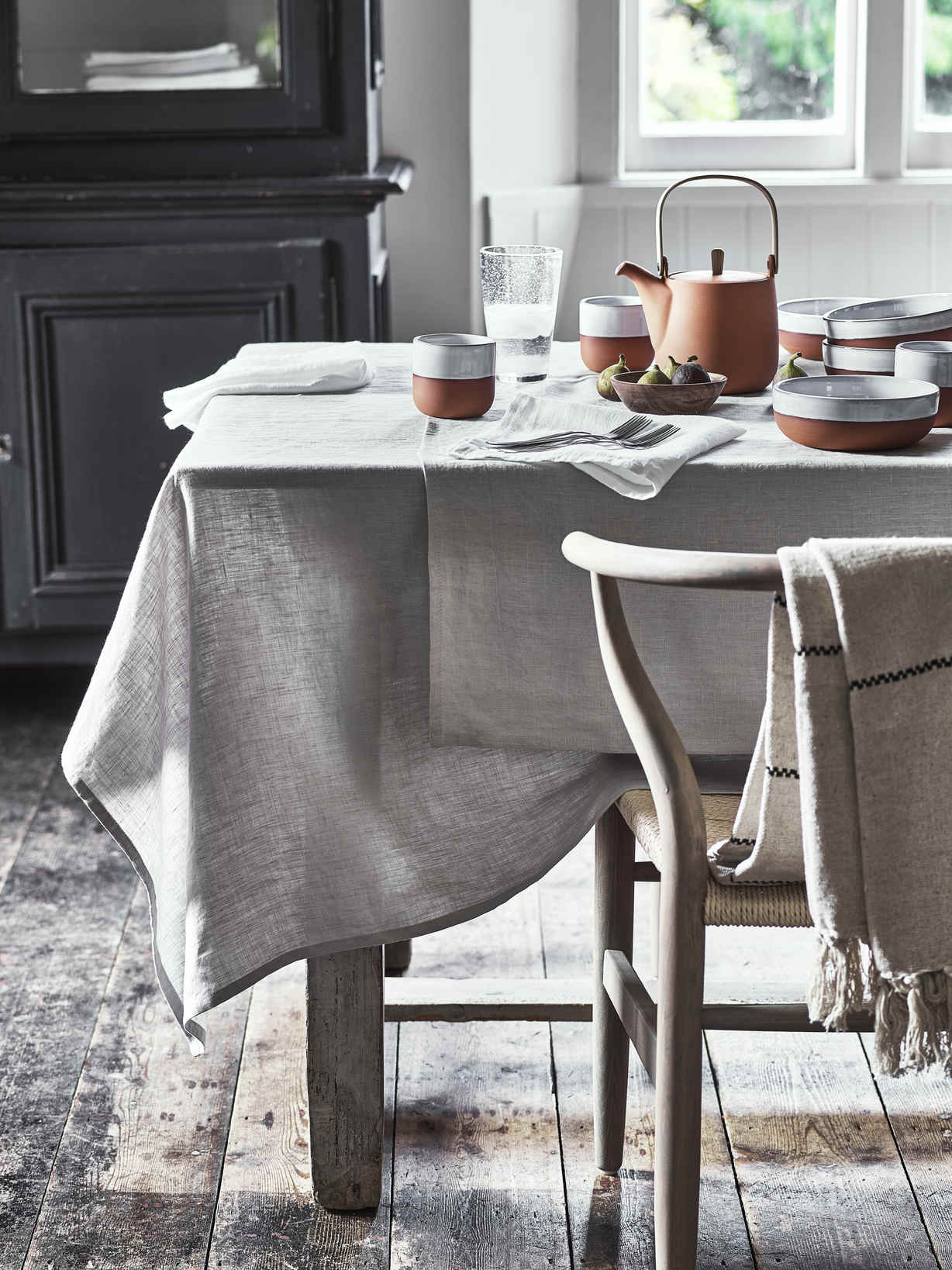 Nordic House Pale Grey Linen Tablecloth