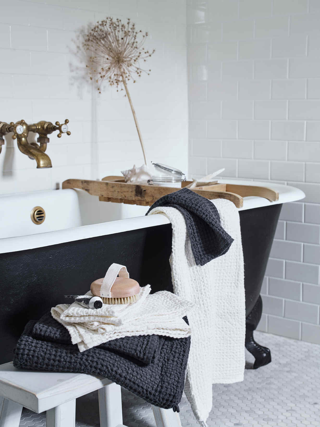 Nordic House Linen Mix Waffle Towel Sets