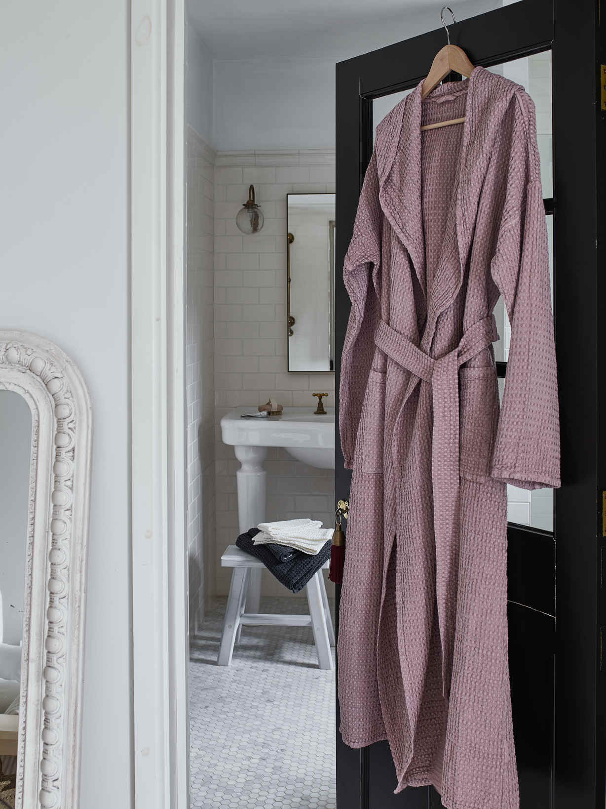 Nordic House Linen Mix Waffle Bathrobe - Woodrose