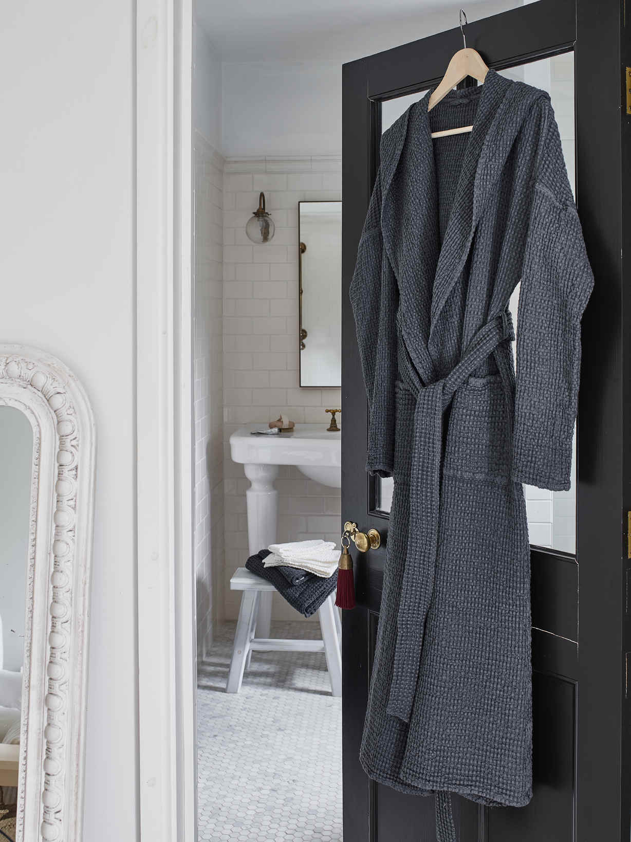 Nordic House Linen Mix Waffle Bathrobe - Charcoal