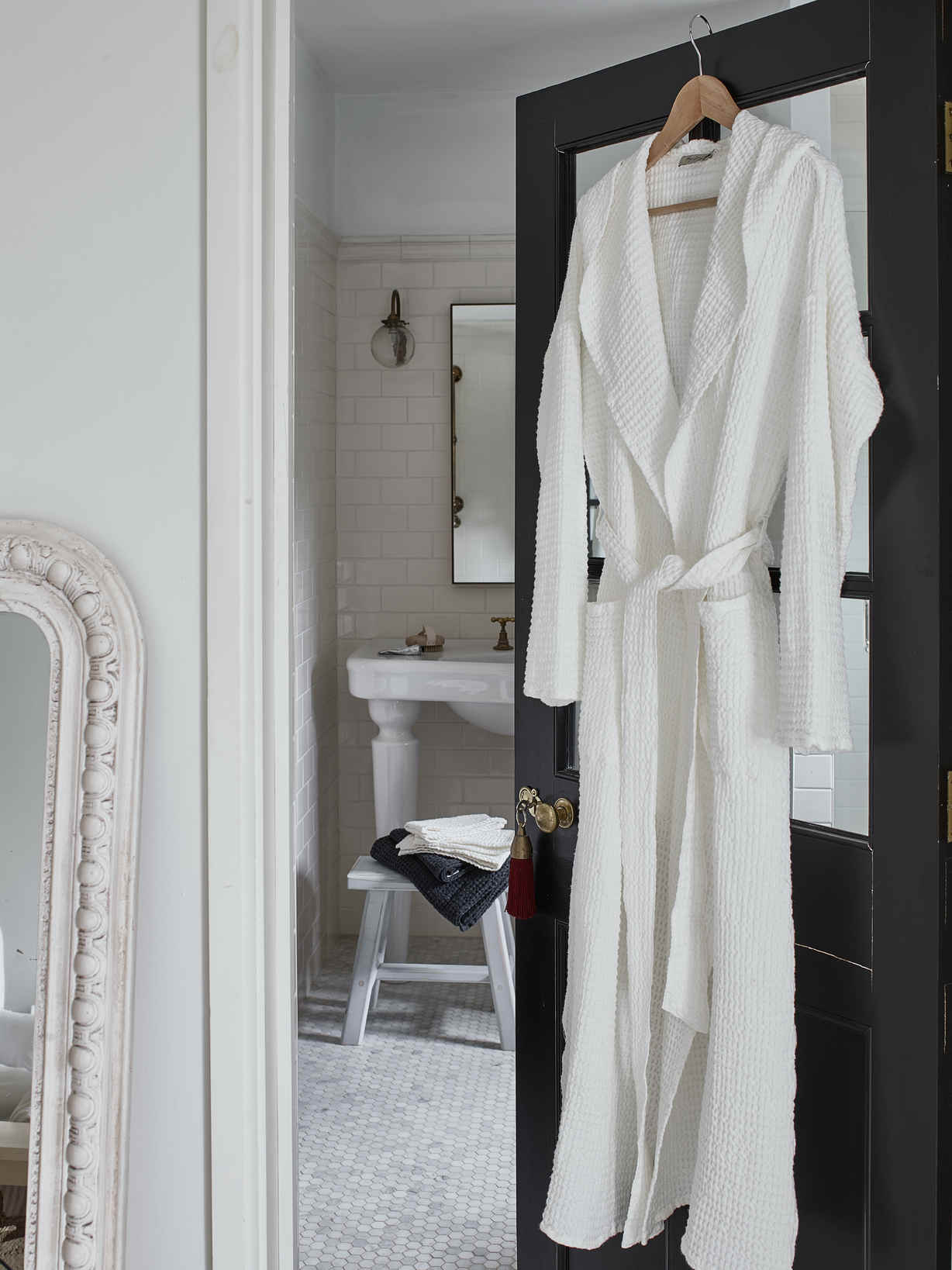 Nordic House Linen Mix Waffle Bathrobe - White