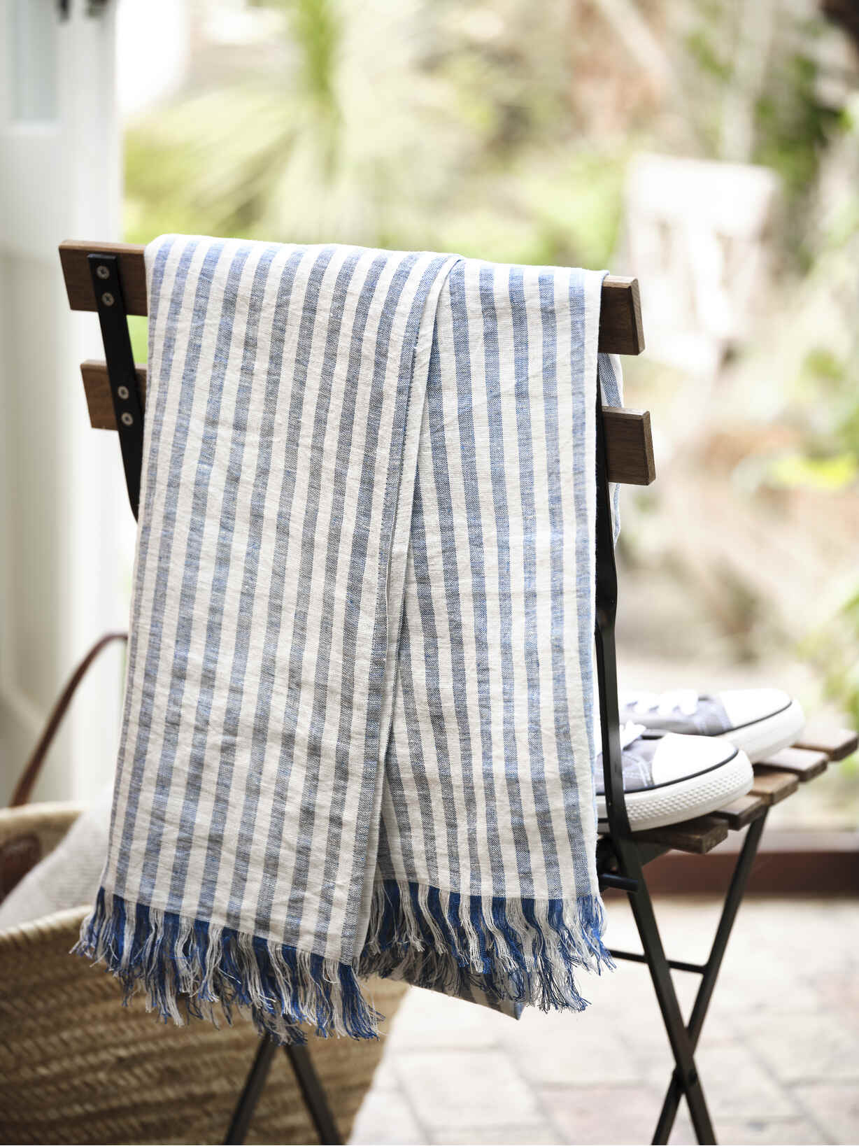 Nordic House Striped Linen Beach Towel