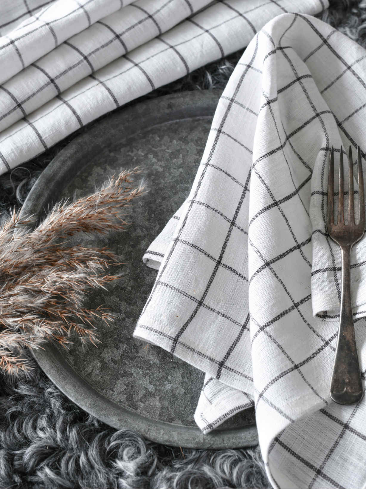 Nordic House Charcoal Check Table Linen