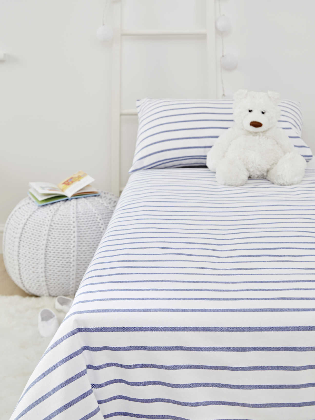 Nordic House Yarn-Dyed Cot Bed Set - Blue