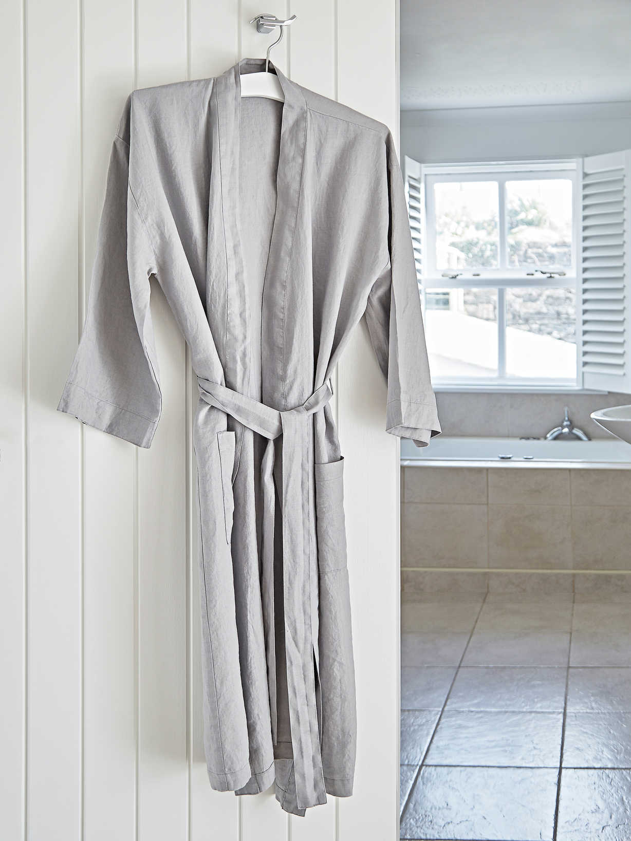 Nordic House Washed Linen Bathrobes - Grey