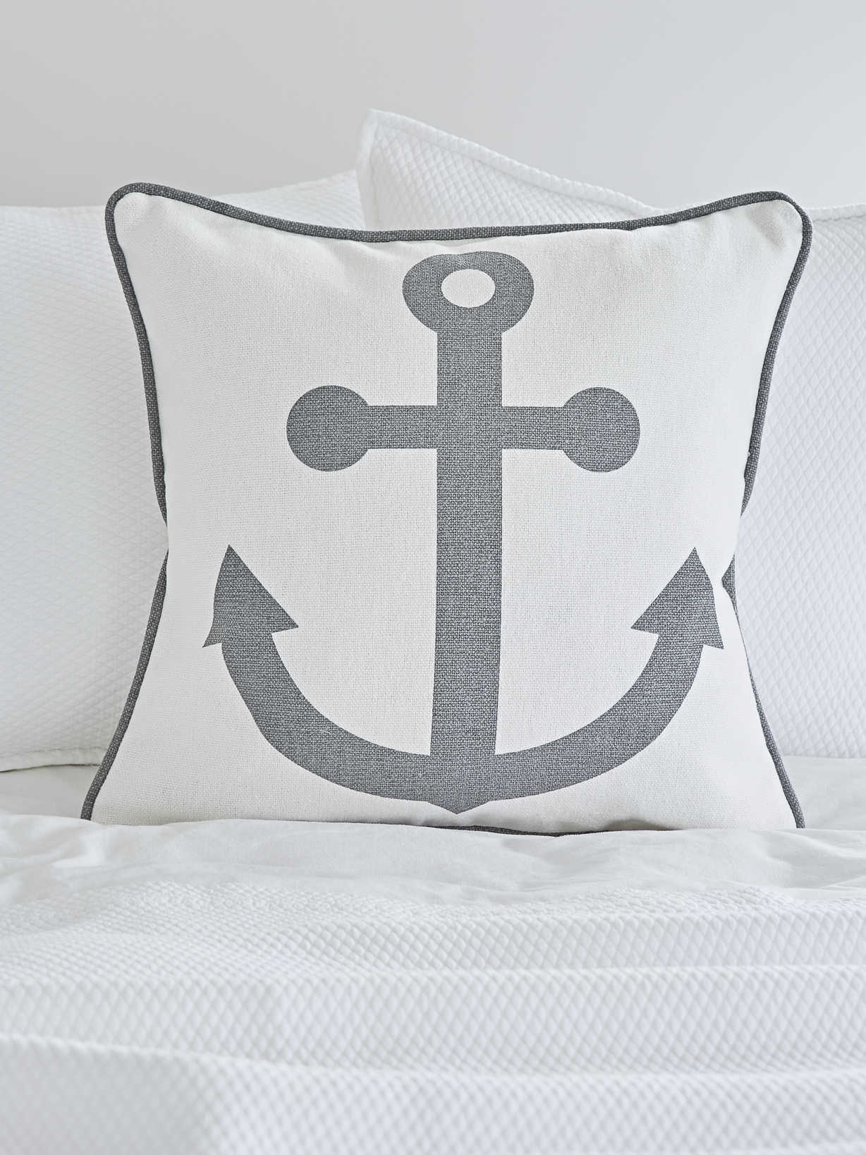 Nordic House Anchor Cushion - Grey